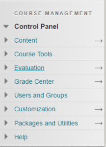 Screenshot of Control Panel With Evaluation Tab